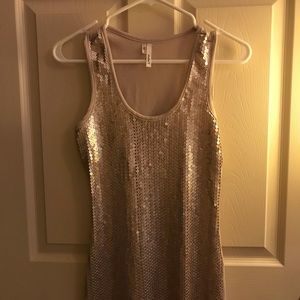 EUC! Tan/Gold Sequin Tank Top